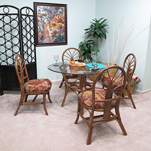 Rattan Walnut Table (Premium Rattan Dining Furniture Sundance 5PC Set Islander Spice Jacquard Fabric (Walnut Finish))