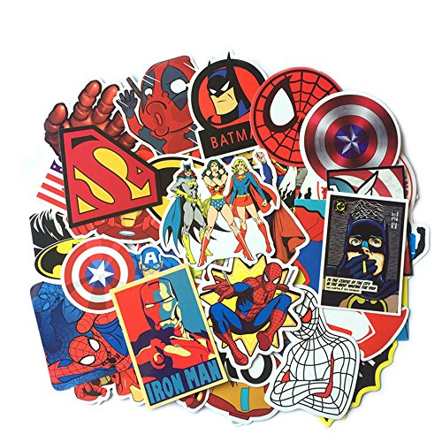 50 pcs Super Hero Stickers for Laptop Luggage Skateboard Car