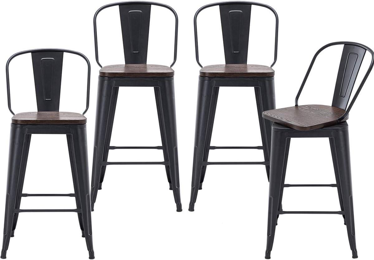 Changjie Furniture Swivel Metal Barstools Kitchen Counter Bar Stools High Back Set of 4 High Back Matte Black Wooden, Swivel 26 inch
