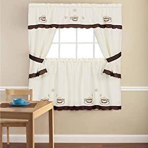 "Sweet Home Collection 5 Piece Kitchen Curtain Window Panel Set Printed Design with Tier, Swag, and Valance, 36"", Cup-A-Joe"