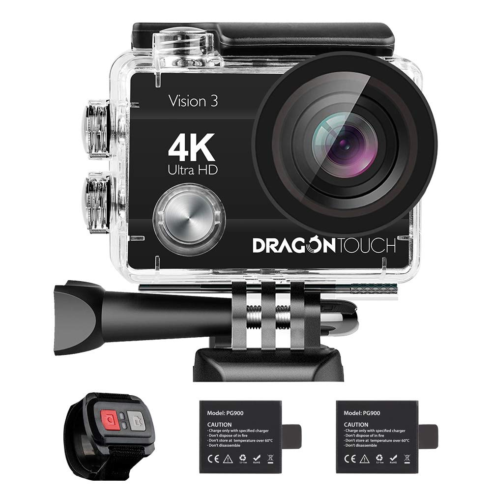 Dragon Touch 4K Action Camera 16MP Vision 3 Underwater Waterproof Camera 170° Wide Angle WiFi Sports Cam with Remote 2 Batteries and Mounting Accessories Kit AKASO