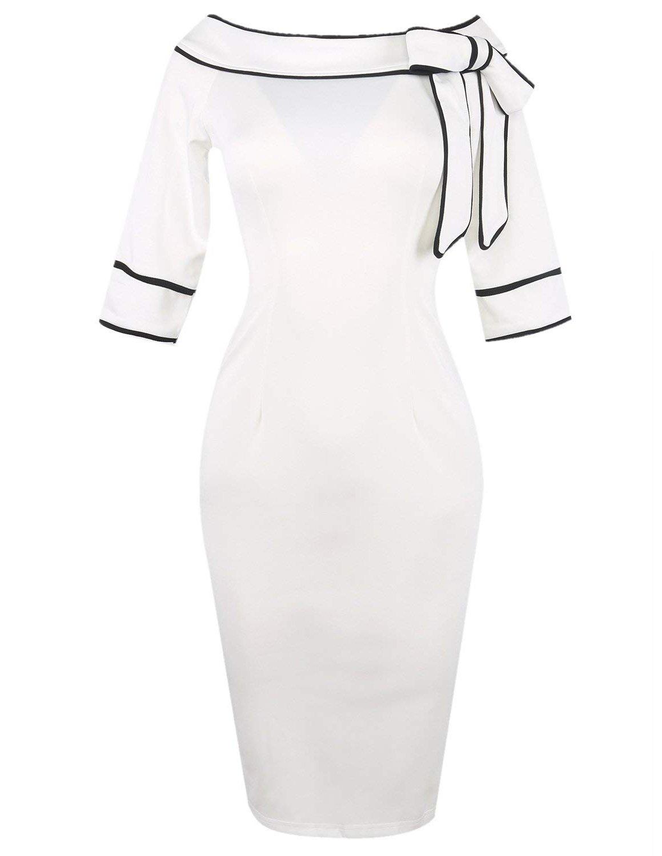 MODETREND Elegante Vestidos Para Mujeres Manga Larga Falda de la Cadera del Paquete Collar Plano Vestido