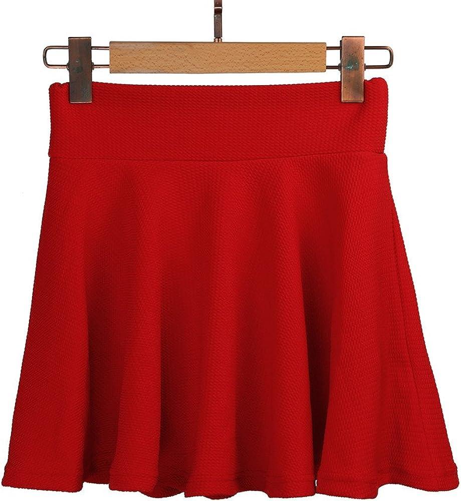 Nevera Women Basic Solid Flared Skater Mini Skirt High Waist Stretchy Casual Skirt