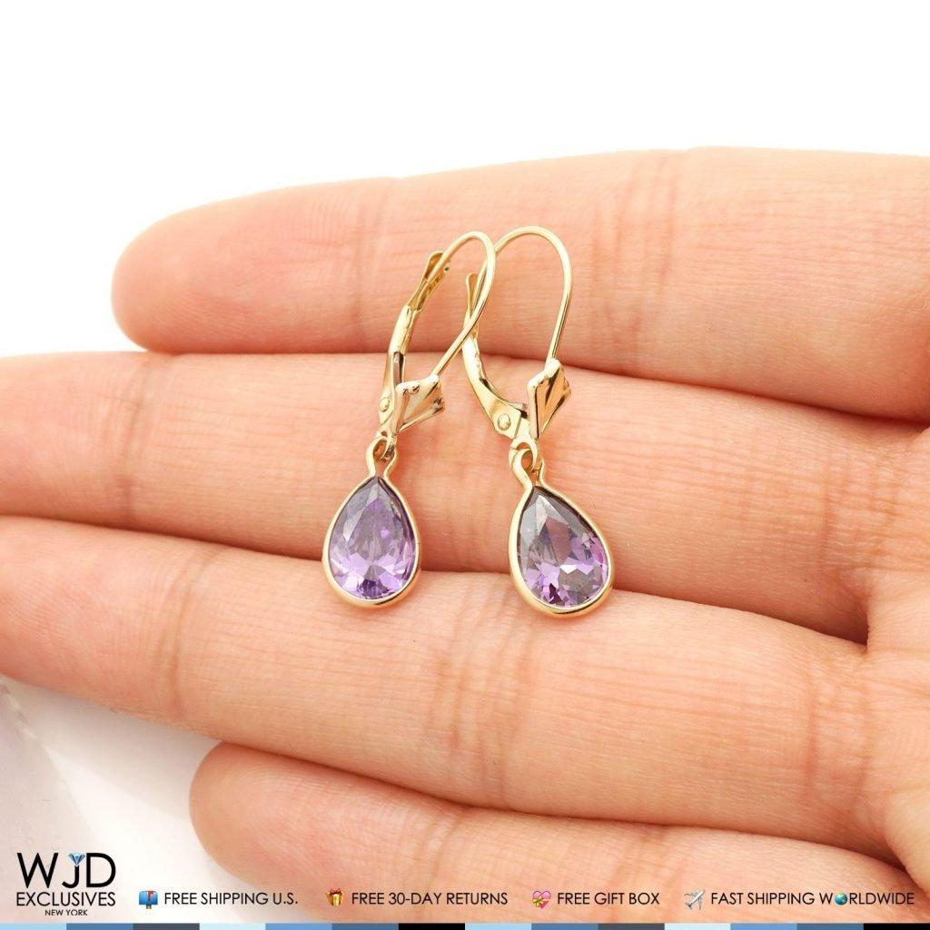 14k Yellow Gold Teardrop Bezel Birthstone Dangle Leverback Earrings 1'', Amethyst by WJD Exclusives (Image #2)