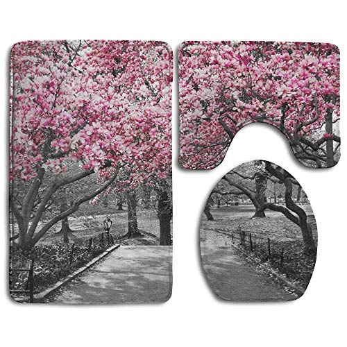 Blossoms in Central Park Cherry Bloom Trees Forest Spring Springtime Landscape Bathroom Rug 3 Piece Bath Mat Set Contour Rug and Lid -