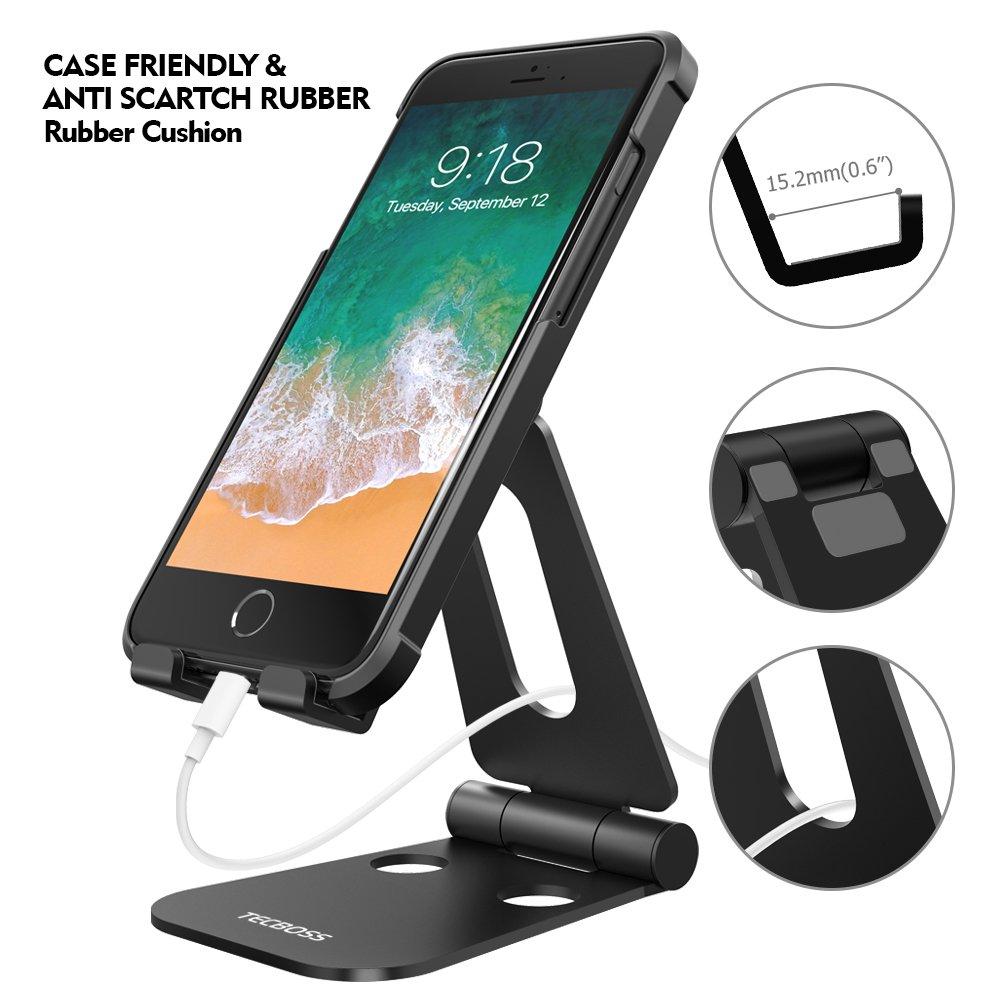 (2 in 1)Tecboss Tablet Stand, Multi-Angle Adjustable Desktop Cell Phone Stand Holder for Nintendo Switch, iPad mini Air 2 3 4 Pro, iPhone 6 7 8 X Plus - Easy Adjust & Take Anywhere by Tecboss (Image #5)