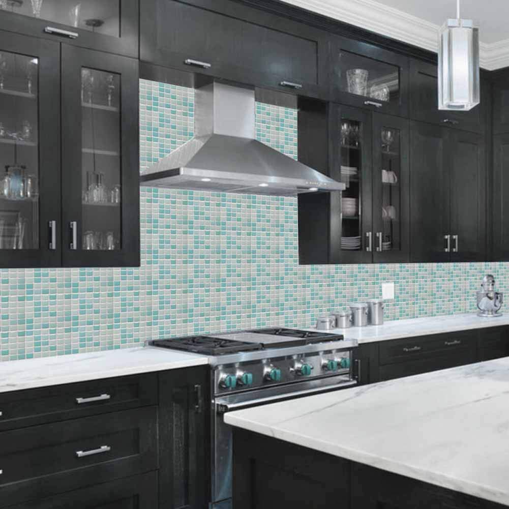 Kitchen Backsplash Smart Tiles Self Adhesive Tiles Peel and Stick 3D Wall Tile Anti Mold Anti Oil PET Wall Decor Backsplash Panels for Kitchen Bathroom White/Light Green/Turquoise Color(10 Tiles) by POPPAP (Image #2)