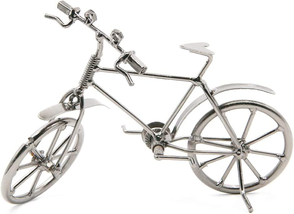 Vintage Metal Bicycle Ornaments Desktop Crafts Ironwork Bike Figurines Bike Miniature Home Decoration for Children Toys Gifts (Grey)