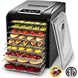 Gourmia GFD1950 Electric Food Dehydrator Machine - Digital Timer and Temperature Control - 9 Drying Trays -Perfect for Beef Jerky, Herbs, Fruit Leather -BPA Free -600W - Black - Bonus Cookbook