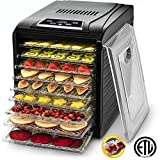 Kitchen & Housewares : Gourmia GFD1950 Electric Food Dehydrator Machine - Digital Timer and Temperature Control - 9 Drying Trays -Perfect for Beef Jerky, Herbs, Fruit Leather -BPA Free -600W - Black - Bonus Cookbook