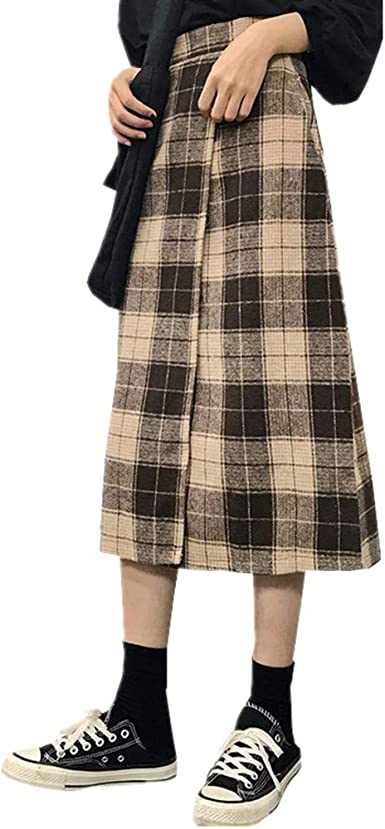 ZAMAC Faldas a Cuadros de Lana para Mujer Marrón Cintura ...