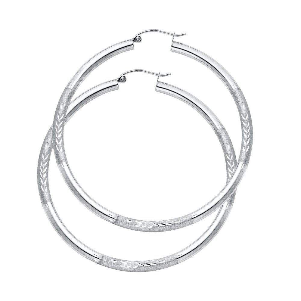 48mm X 48mm 14k White Gold 3mm Thick Diamond-Cut Hoop Earrings,
