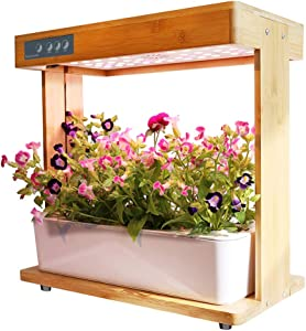 Smart Garden, Hydroponics Growing System with Bamboo Frame, Indoor Herb Garden Planter Easy to Use, Ideal Hydro Starter Kit for Beginners, 8 Pots