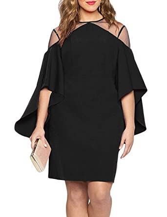 e80981ddcefbc Women Mesh Cold Shoulder Bell Sleeves Mini Plus Size Fitted Dress Black XL