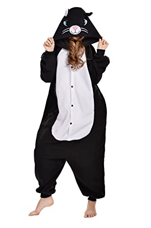 halloween cotumes unisex adult onesies pajamas cat costumes s black