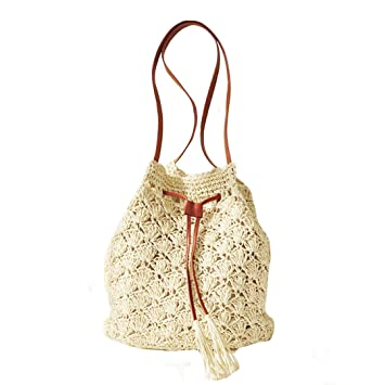 113b5b0de914 AiSi Womens Summer Straw Beach Bag Drawstring Holiday Tote Bags  Amazon.co. uk  Sports   Outdoors