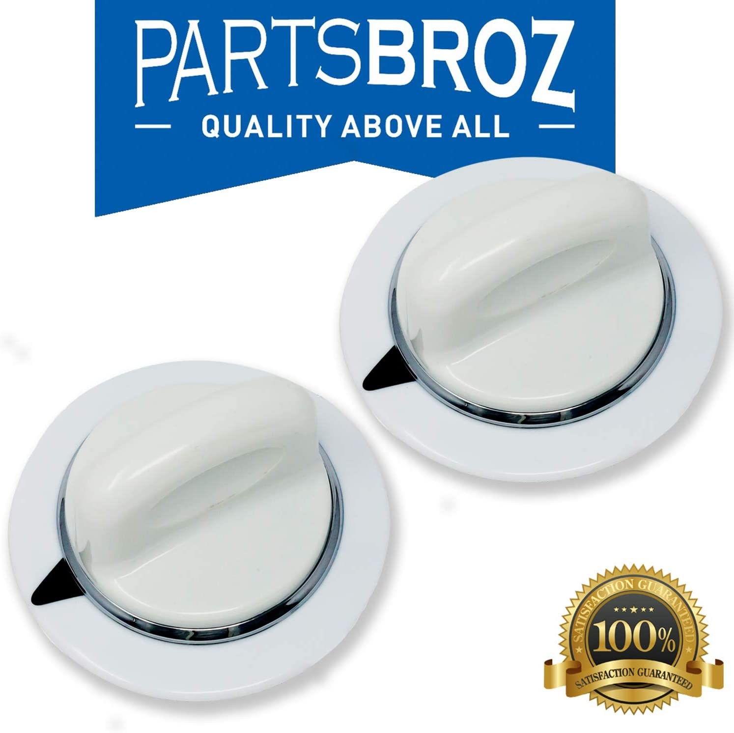 WE1M654 White Timer Knob Replacement for General Electric (GE) Dryers by PartsBroz - Replaces AP3995088, 1264290, AH1482197, EA1482197, PS1482197, WE01M0443, WE1M443, WE1M502, WE1M668 (Pack of 2)