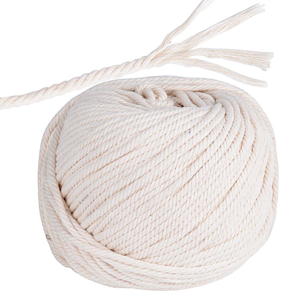 SERWOO (60m * 5mm) Corda Cotone Beige Macrame Naturale Filo Fatto a Mano Decorazione Casa Vaso Matrimonio Festa Natale Artigianato