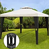 Poly Rattan Garden Gazebo 3x4m 12sqm Outdoor Pavilion Party Marquee Reception Tent Cream Black