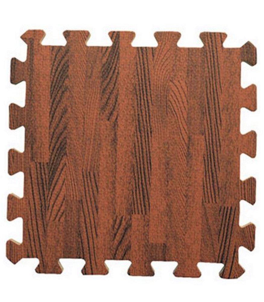 Kangkang@ Joint Mat Interlocking Foam Mats EVA Foam Floor Mats (9 Tiles) Brown Wood Grain Foam Mat Green Waterproof Insulation Imitation Wood Puzzle Mat