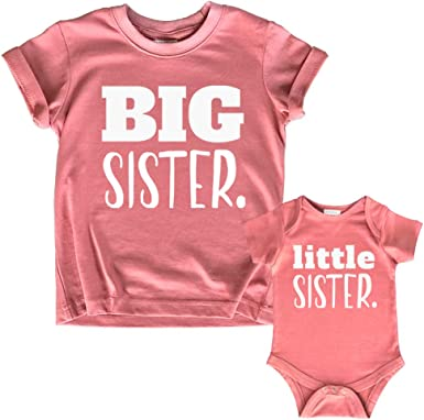 Big Sister Little Sister Matching Outfits Shirt Gifts Girls Newborn Baby Set Clothing