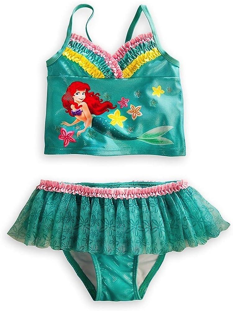 Disney Store Ariel The Little Mermaid 2-Piece Tutu Swimsuit Size Large 9-10 Green