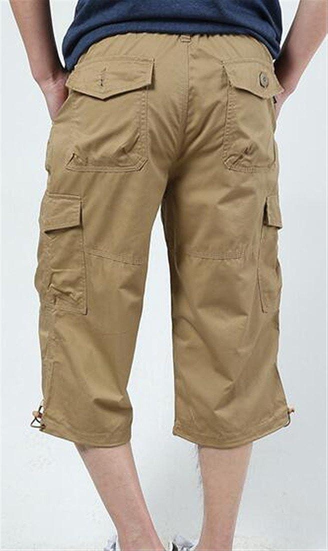 Etecredpow Mens Multi Pocket Mid Waist Pure Color Cargo Short Capri Pants Khaki X-Large