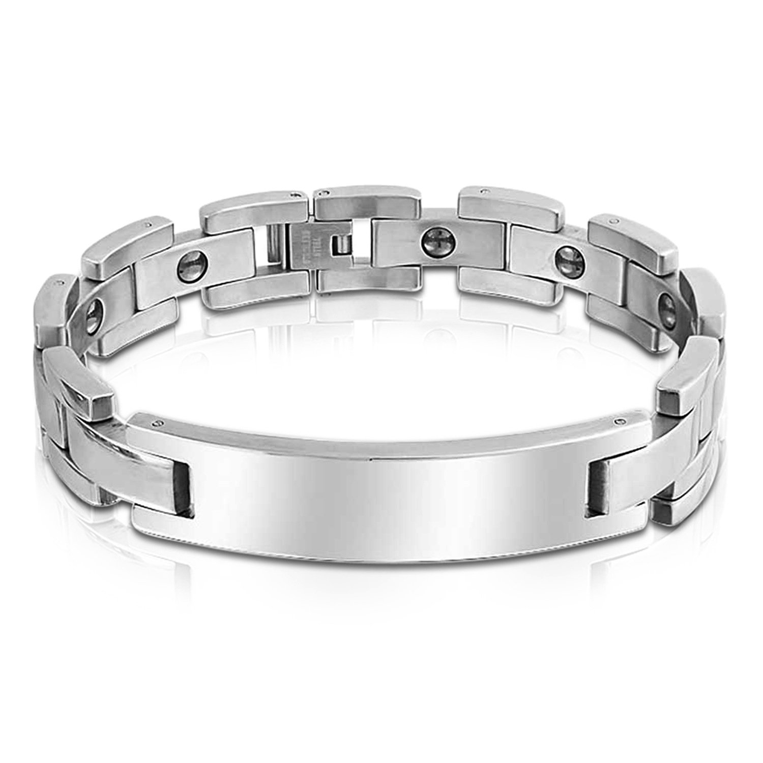 Bling Jewelry Mens Stainless Steel Polished Tiled ID Bracelet 8in with Engraving CB-30143