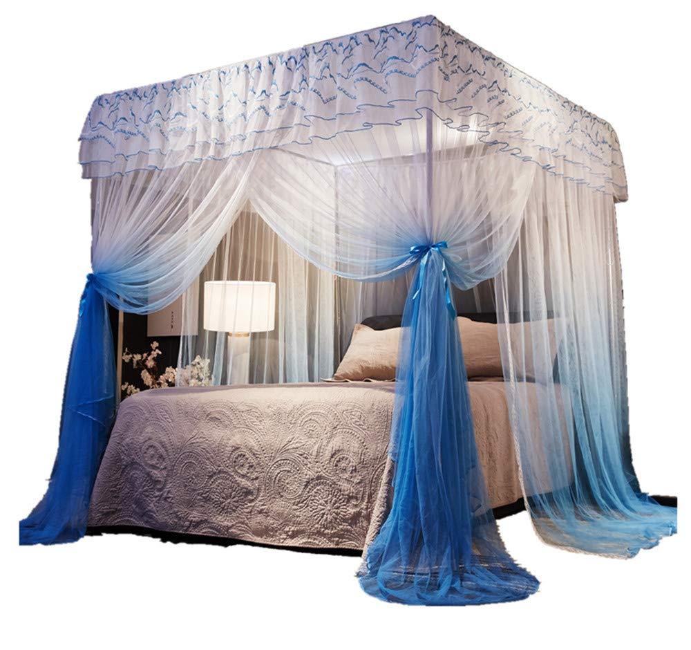Mosquito net Double Bed Home Insect-Proof Children's Bedroom Gauze Princess Wind Floor Hanging Summer Decoration Tent, Blue, 1.5M