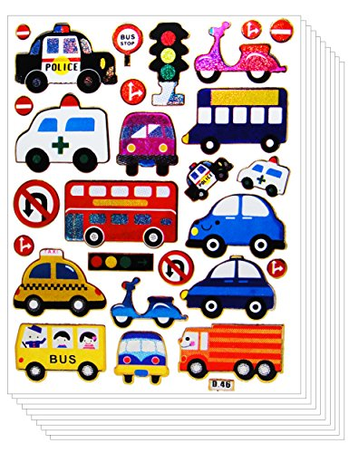Police Cars Vivid Sticker - Glitter Truck Bus Motorcycle Ambulance Party for Craft Scrapbooking Sticker Kids (10 Sheets)