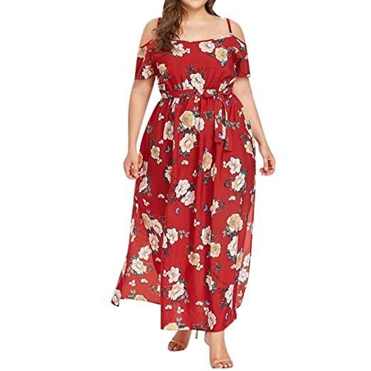 dcac873dfad Women A-line Dresses Plus Size Casual Short Sleeve Strapless Flower Print Long  Dress at Amazon Women s Clothing store