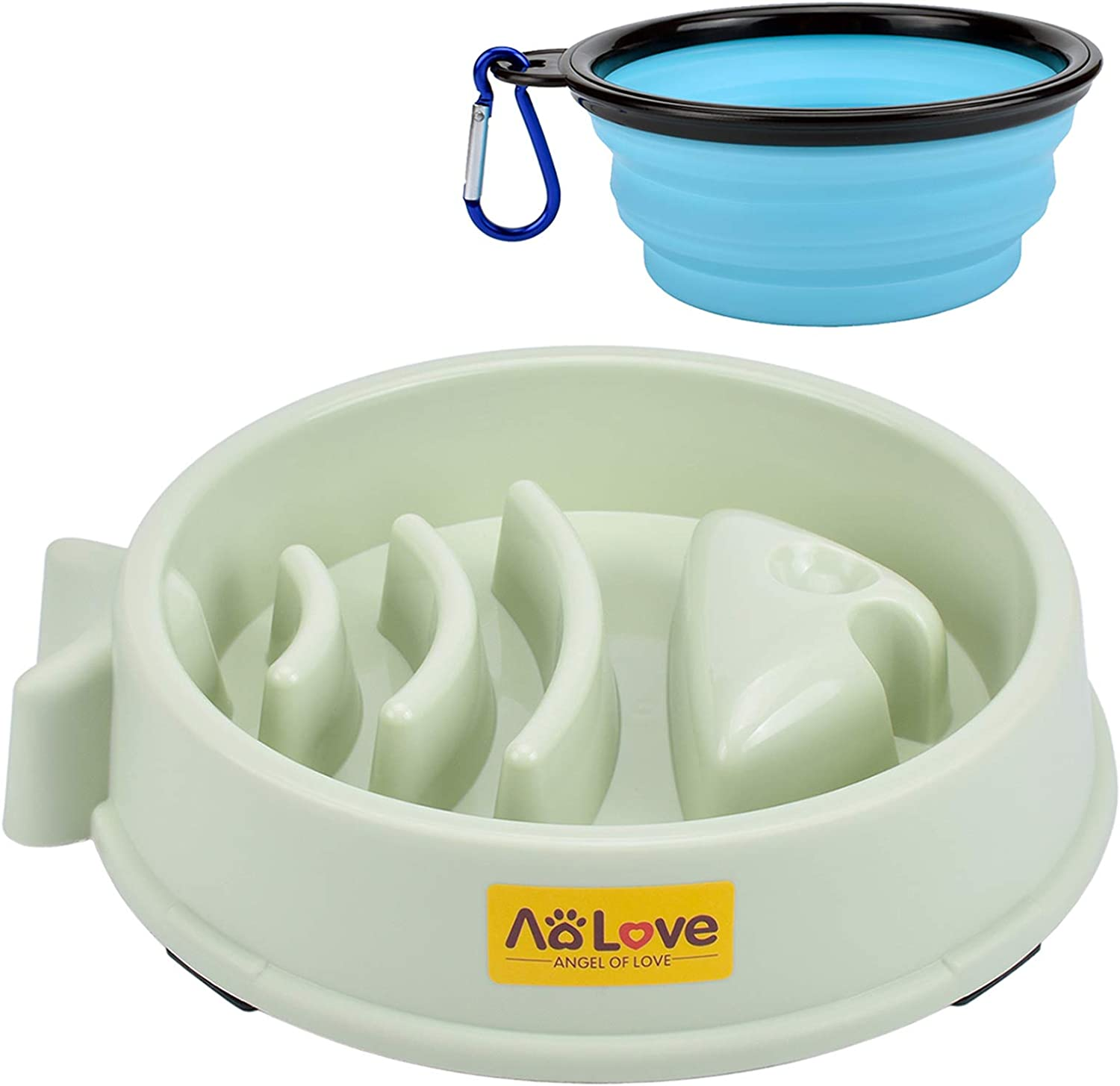 Aolove Slow Feeder Bowl Healthy Food Fun Anti-Choke Pet Bowls for Dog (One Size, A1-Green)