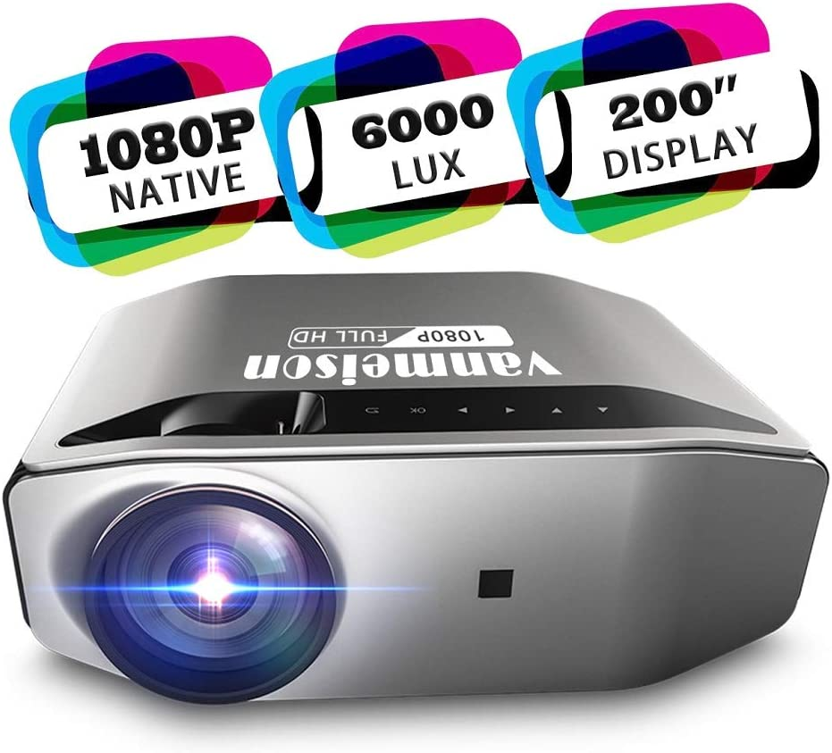 Vanmeison Home Theater Projector,Native 1080P 6000LM Full HD Office Projector for Laptop Business PowerPoint Presentation,Compatible with TV Stick, PS4, HDMI, VGA, Xbox, AV and USB