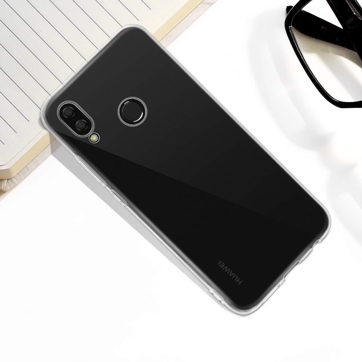 Elzo Housse de Protection Ultra Mince Silicone Clair Doux TPU Case avec Absorption de Choc Bumper et Anti-Scratch Flexible Cover pour Huawei P20 Lite Huawei P20 Lite Coque Transparente