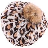 iHAZA Chapeau Bérets Citrouille Femmes Fille Hiver Chaud Mode Casquette de  Hairball à imprimé léopard f8a300f1505