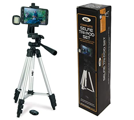NGT ANGLERS SELFIE TRIPOD WITH REMOTE CONTROL AND NIGHT LIGHT CASE FISHING  CAMERA STAND with attachable Flash and Remote control - The Easy Way to