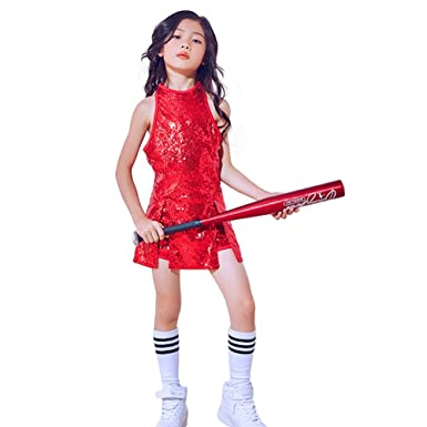 30f6a0b227ba Girls Sequins Jazz Dance Costume Sparkle Mini Dress Hip Hop Street ...