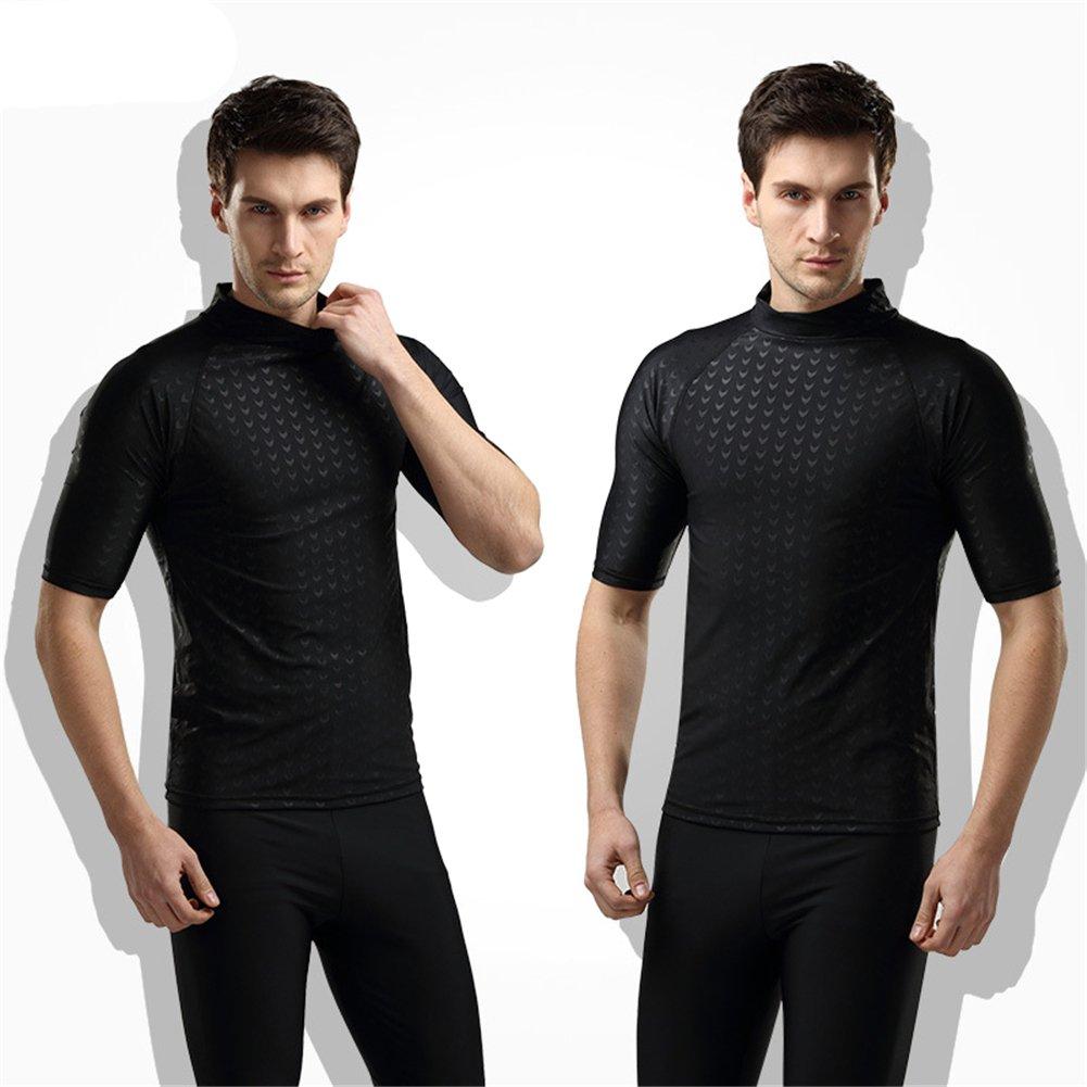 Fortuning's JDS® Men's black shark skin style short sleeve swimwear tops rash guard LUCKY BUTTERFLY