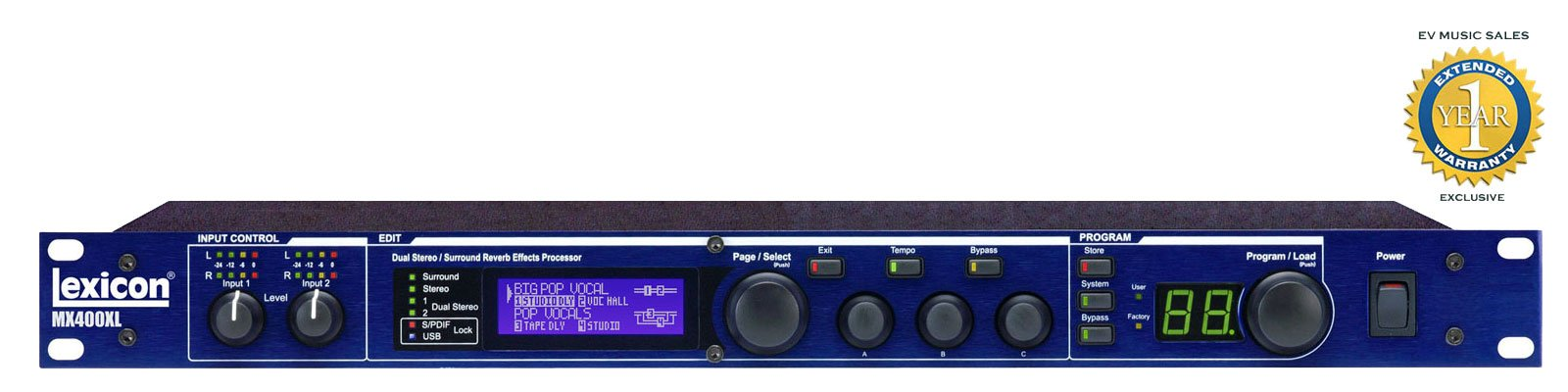 Lexicon MX400XL 4-in/4-out Reverb/Effects Processor with 1 Year Free Extended Warranty