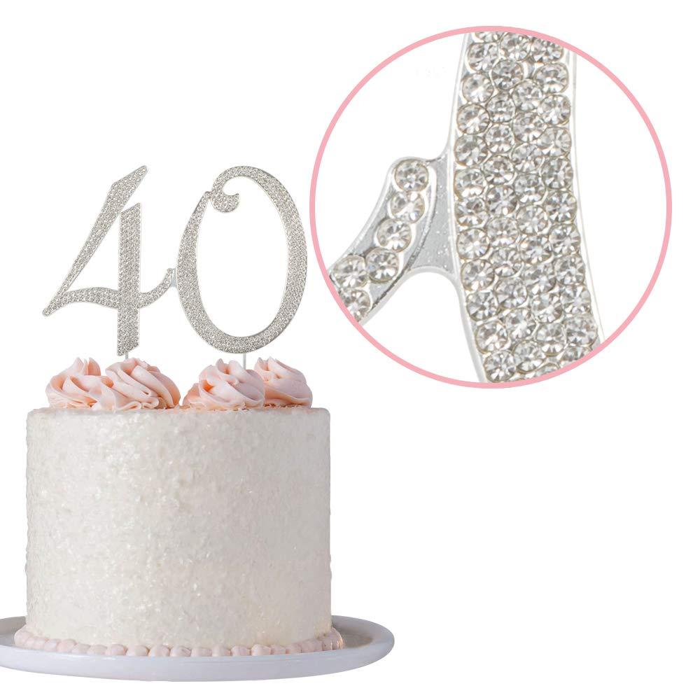 Sparkling Rhinestone 40 Fabulous Cake Topper Birthday Anniversary Cake Decor