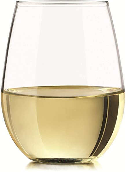 e5bfcb4108e Circleware 44586 Set of 4 Clear Stemless Wine Glasses, Home Party  Entertainment Dining Beverage Drinking