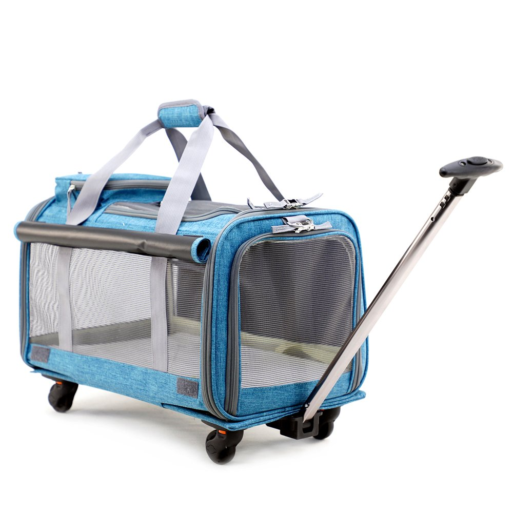 Pet Carrier Stroller,Soft-Sided Pet Travel Carrier with Removable Wheels for Small Medium Dogs/Cats up to 22 lbs - Easy to Fold,Durable Mesh Panels & Washable Fleece Mat …
