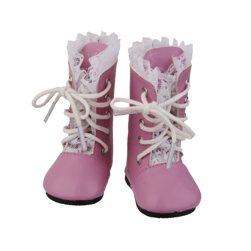 Handmade Pink Lace Boots Lace Up Shoe Fits 18 inch American Girl Doll Party Dress Generic