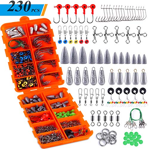 TOPFORT 230PCS Fishing Accessories Kit, Including Jig Hooks, Bullet Bass Casting Sinker Weights, Different Fishing Swivels Snaps, Sinker Slides, Fishing Line Beads, Fishing Set with Tackle Box...