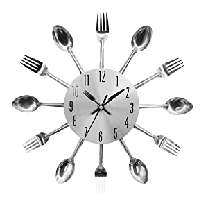 FAMKIT Fork Spoon Wall Clock 12inch Kitchen Cutlery Clock Fashion Durable Home Room Decor Decoration