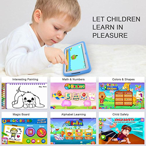Kids Tablet Android 7.1, 7 Inch, HD Display, Quad Core, Children Tablet, 1GB RAM + 8GB ROM, with WiFi, Dual Camera, Bluetooth, Educational,Touch Screen Kid Mode,Parental Control … by BENEVE (Image #2)