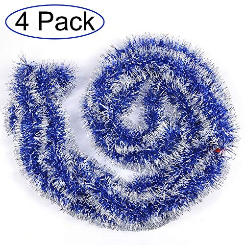 Woooow 24ft Christmas Tinsel Garland,4Pcs x 6.0ft Soft Christmas Garland Classic Shiny Sparkly Party Ornaments Hanging Xmas Christmas Tinsel Christmas Tree Ceiling Decorations,Unlit(Blue) ()