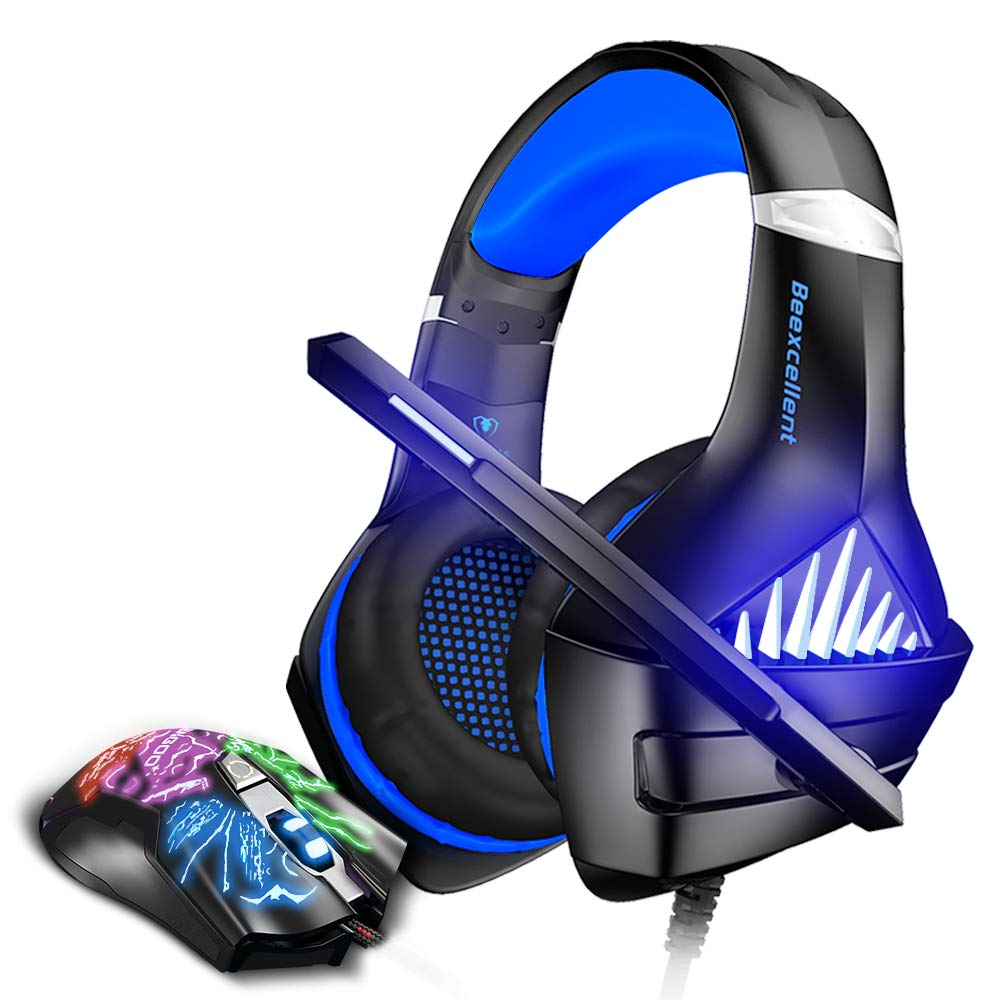 BENGOO GM-5 Stereo Gaming Headset for Xbox One, PS4, PC with Mouse, Noise Cancelling Over Ear Headphones with Mic, LED Light, Gaming Mouse Wired with 3200 DPI Adjustable and 6 Programmed Buttons by BENGOO