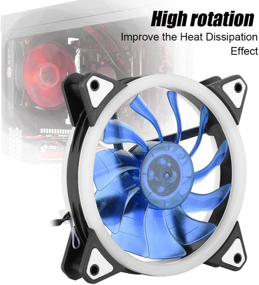 蓝色 Water Cooling Fan Fishlor 3pin Cooling Fan 12cm 120mm Ultra Silent 3pin 4pin PC CPU Case Cooler Cooling Fan 2 LED Rings