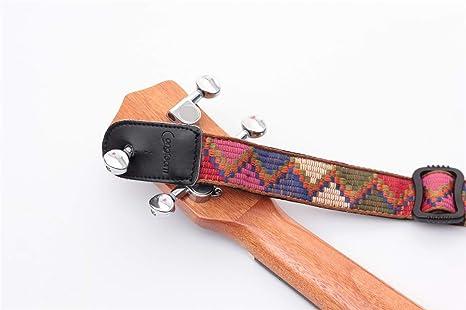 Correa de hombro para ukelele de piel aut/éntica multicolor color arco/íris brillante 100/% algod/ón